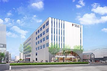 建設予定の地上5階建てキャンパスの完成予想図